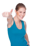 Happy woman showing thumbs up Stock Photos