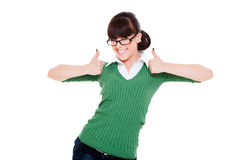 Happy woman showing thumbs up Royalty Free Stock Photography