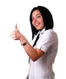 Happy woman showing thumbs up Stock Photo