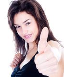 Happy woman showing thumbs up Royalty Free Stock Photos