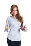 Happy woman showing thumbs up gesture Royalty Free Stock Photography