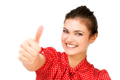 Happy woman showing thumbs up Royalty Free Stock Images