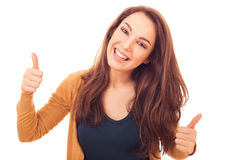 Happy woman shows gesture OK Royalty Free Stock Images