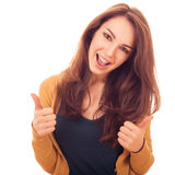 Happy woman shows gesture OK two hands Royalty Free Stock Photography