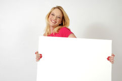 Happy Woman with Sign Stock Photography