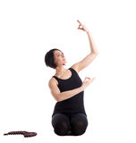 Happy woman sit in yoga pose with beads Royalty Free Stock Photos