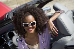 Happy Woman Sitting In Car Royalty Free Stock Images