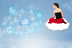 Happy woman sitting on cloud with cloud computing Royalty Free Stock Photography