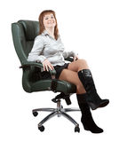 Happy woman sitting luxury office armchair Stock Photo