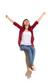 Happy Woman Sitting On A Top And Celebrating Royalty Free Stock Images
