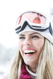 Happy woman with ski googles Royalty Free Stock Images