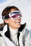 Happy Woman with a ski mask Stock Image