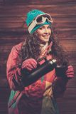 Happy woman in ski wear Stock Photo