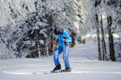 Happy woman skier on a ski slope in the forest Stock Photos