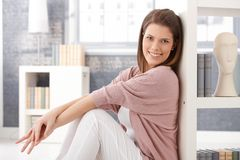 Happy woman in smart living room Royalty Free Stock Photos
