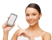 Happy woman with smartphone Royalty Free Stock Images