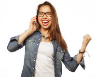 Happy woman with smartphone Royalty Free Stock Image