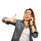 Happy woman with smartphone Royalty Free Stock Photography