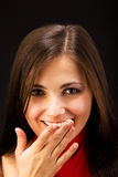 Happy woman smile and close her mouth Royalty Free Stock Photos