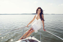 Happy  woman smiling on boat Royalty Free Stock Photography