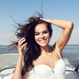 Happy  woman smiling on boat Royalty Free Stock Image