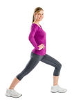 Happy Woman Smiling While Doing Stretching Exercise Stock Image