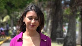 Happy Woman, Smiling Female, Walking in Park stock video footage
