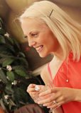 happy woman smiling - indoors Royalty Free Stock Images