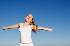 Happy woman smiling with joy royalty free stock image
