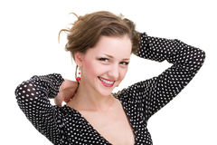 Happy woman smiling portrait isolated over a white Stock Photography