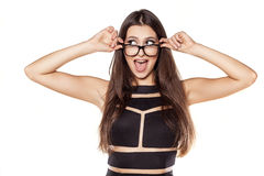 Happy woman. Smiling pretty young woman with glasses on a white background royalty free stock photo