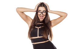 Happy woman. Smiling pretty young woman with glasses on a white background stock images