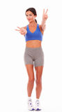 Happy woman smiling in sport clothing Royalty Free Stock Photography