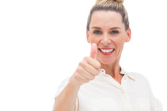 Happy woman smiling with thumb up Stock Photos