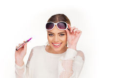 Happy woman smoking e-cigarette Royalty Free Stock Image