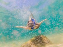 Happy woman in snorkeling mask dive underwater with tropical fishes in coral reef sea pool. Travel lifestyle, water. Sport outdoor adventure, swimming lessons royalty free stock images
