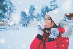 Happy woman in a snow landscape.  Stock Images
