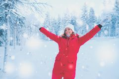 Happy woman in a snow landscape.  Stock Photography