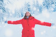 Happy woman in a snow landscape.  Stock Photos
