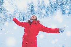 Happy woman in a snow landscape.  Royalty Free Stock Images