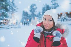 Happy woman in a snow landscape.  Royalty Free Stock Photo