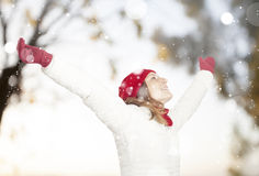 Happy woman in snow Royalty Free Stock Photo