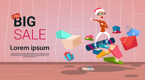 Happy Woman On Snowboard Big Holiday New Year Sale Shopping. Flat Vector Illustration Royalty Free Stock Image