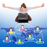 Happy woman in social network Stock Images