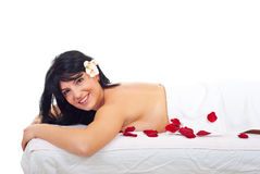 Happy woman at spa stock photography
