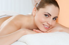 Happy woman at spa Royalty Free Stock Photo