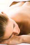 Happy woman in a spa Royalty Free Stock Image