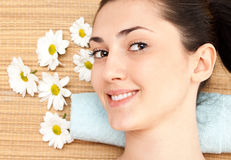 Happy woman in spa center Stock Photos