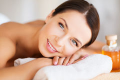 Happy woman in spa salon Royalty Free Stock Photo