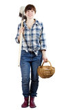 Happy  woman   with spade and basket Royalty Free Stock Photos
